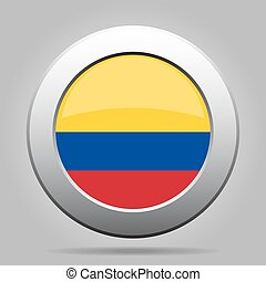 Flag of Colombia. Shiny metal gray round button.