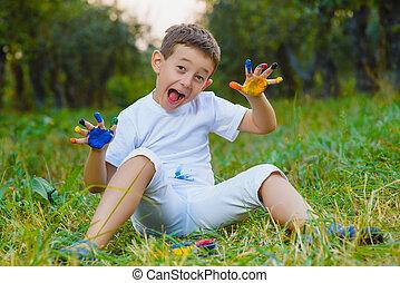 男孩, 畫, 手指, 樂趣, 畫, 有