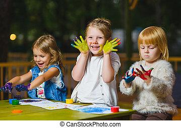 有, 畫, 手指, 樂趣, 畫, 孩子