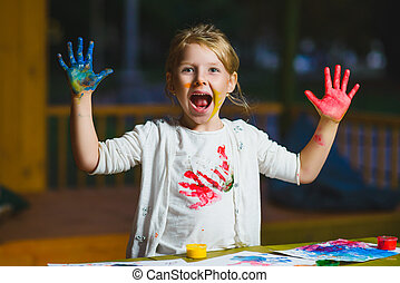 畫, 手指, 孩子, 樂趣, 畫, 有