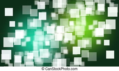 Futuristic animation with square objects and blinking light in slow motion on color changing background,