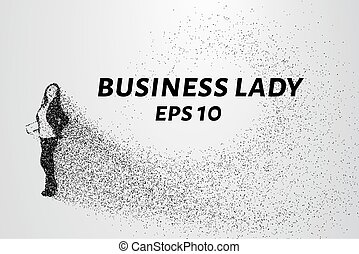 Business woman of the particles. The girl crumbles into...