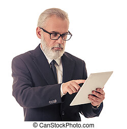 Handsome mature businessman with gadget - Handsome bearded...