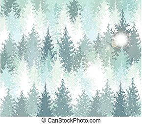 Background with winter forest