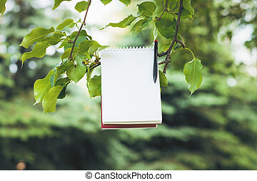 Notepad on green tree branch - Blank spiral notepad and pen...