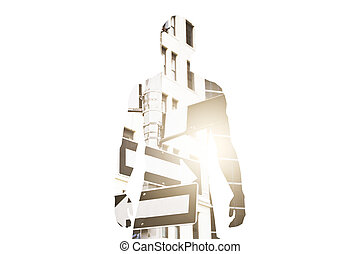 Different direction concept - Silhouette of man on abstract...