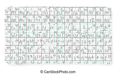 Graph paper and hand written numbers
