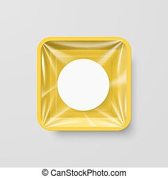 Plastic Food Container - Empty Yellow Plastic Food Square...