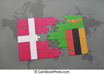 puzzle with the national flag of denmark and zambia on a...