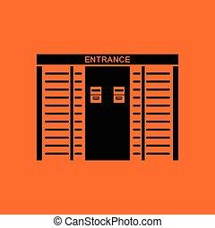 Stadium entrance turnstile icon. Orange background with...