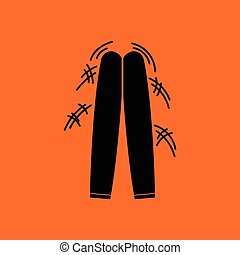 Football fans clapping sticks icon. Orange background with...