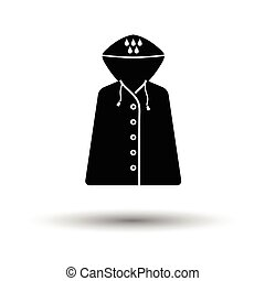 Raincoat icon. White background with shadow design. Vector...