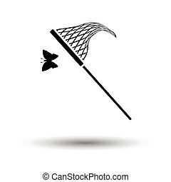 Butterfly net icon. White background with shadow design....