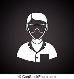 Icon of chemist in eyewear. Black background with white....