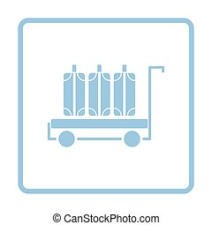 Luggage cart icon. Blue frame design. Vector illustration.