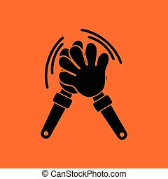 Football fans clap hand toy icon. Orange background with...