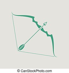 Bow and arrow icon. Gray background with green. Vector...