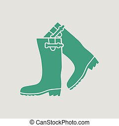Hunter's rubber boots icon. Gray background with green....