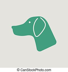 Hunting dog had icon. Gray background with green. Vector...