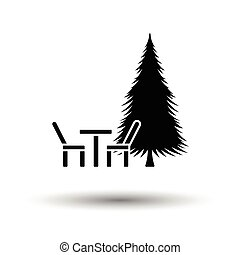 Park seat and pine tree icon. White background with shadow...