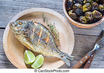 Grilled Dorade Royale Fish with brussel sprouts - Dorade...