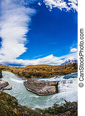 Chile, Patagonia, Paine Cascades Rocky ledges Paine river...