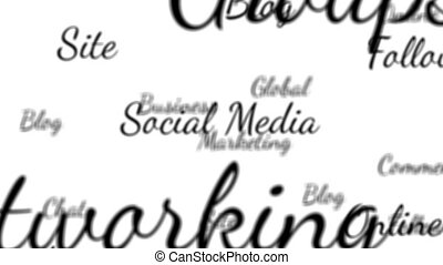 Social media words background loop with matte