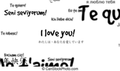 I love you in multiple languages words background loop with...
