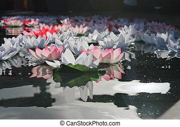 Festival Of Dewali flower offering floats in water
