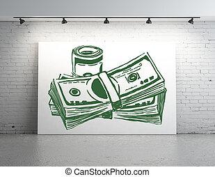 Dollar bills sketch - Poster with bills sketch in white...
