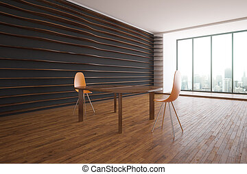 Interior with table and chairs side - Creative dark interior...