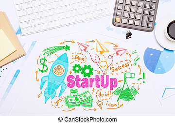 Start up concept - Top view of workplace with creative...