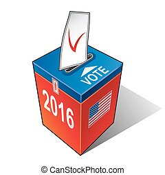 US elections 2016 - Ballot box with the flag of the USA....