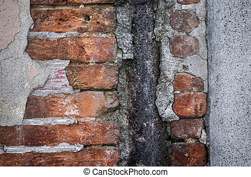 Old brick wall abstract - Antique wall with red old bricks,...