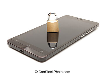 Smartphone with small lock over it - mobile phone security...
