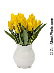 Bouquet from yellow tulips in vase, isolated on white background