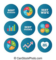 Best wife, husband and friend icons - Business pie chart...