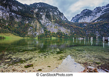 Walking tourist boat approaches the pier - Berchtesgaden in...