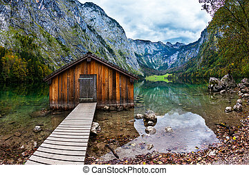 Boat garage in the lake - Enchanted Lake Obersee in the...