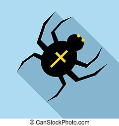 Spider icon, flat style - Spider icon in flat style with...