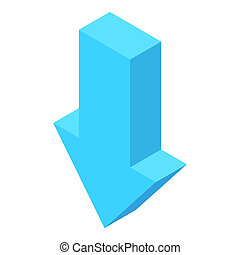 Down arrow icon, cartoon style - Down arrow icon in cartoon...