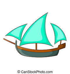 Three sailing wooden ship icon, cartoon style - Three...