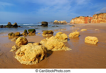 Algarve, Portugal - Praia da Rocha is the beach and built up...