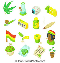 Rastafarian icons set, cartoon style - Rastafarian icons set...