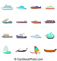 Ship and boat icons set, cartoon style - Ship and boat icons...