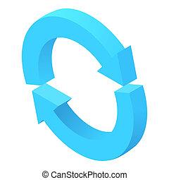 Two circular arrows icon, cartoon style - Two circular...