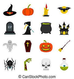 Halloween icons set, flat style - Halloween icons set in...