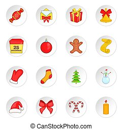 Christmas icons set, cartoon style - Christmas icons set in...