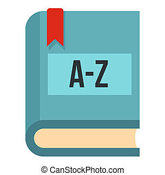 Foreign language dictionary icon, flat style - Foreign...