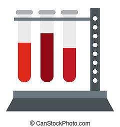 Vial for blood collection icon, flat style - Vial for blood...